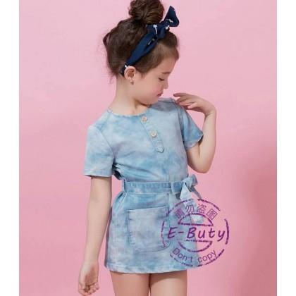 Girl soft blue denim dress