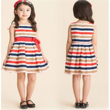 Style & Charming Korea Summer Girl Striped Princess Dress