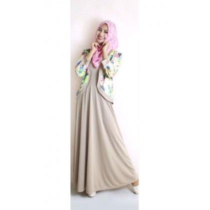 2 Pieces Flower Printed Cardigan Jubah Dress (Without Shawl)