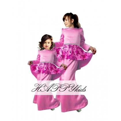 Kids Elegant Peplum Kurung (HAPPYkids) PINK SIZE 1-6Y