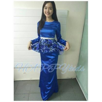 Adult Elegant Peplum Kurung (HAPPYkids) BLUE