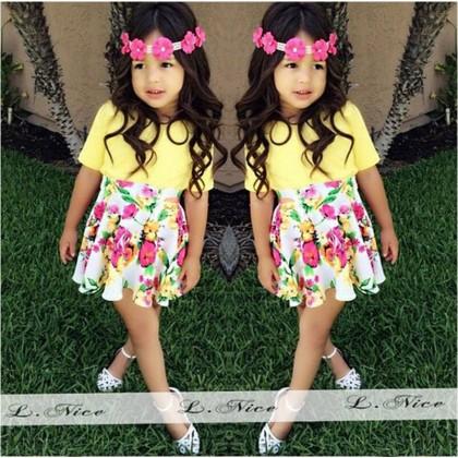 Girl Set Top+Skirt Yellow