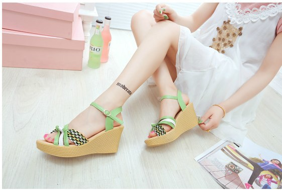 Adult Korean Style Candy-Colored Wedges Shoes (GREEN)