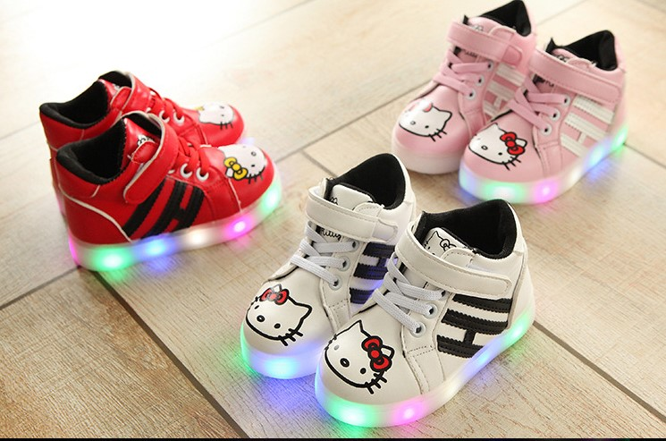 Hello Kitty Shoes [READY STOCK] High-Cut Hello Kitty Shoes With LED Light #863