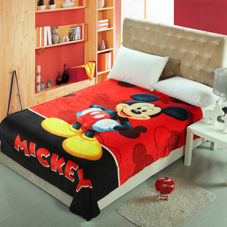 [READY STOCK] Mickey Super Soft Coral Fleece Blanket Selimut Bigger Size 1.5x2M